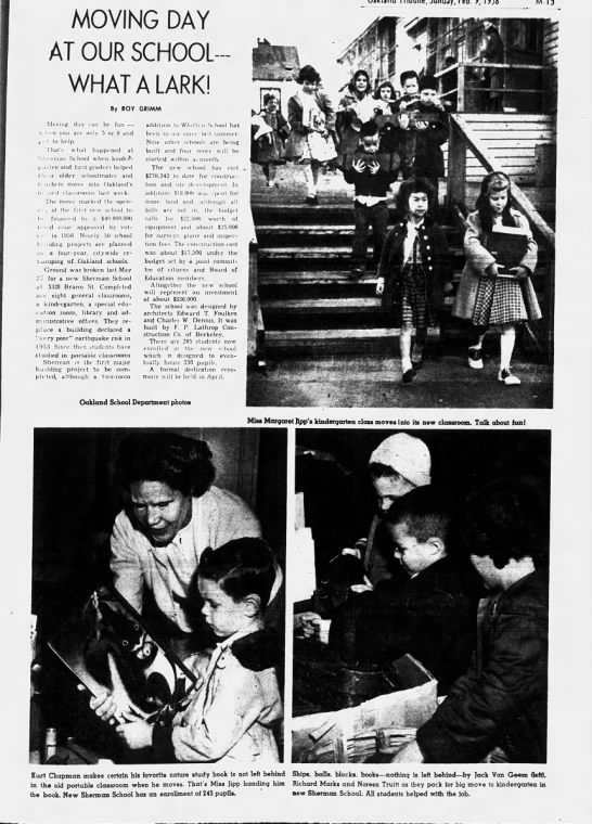 Moving Day At Our School - What A Lark- Sherman School Feb 09 1958 -