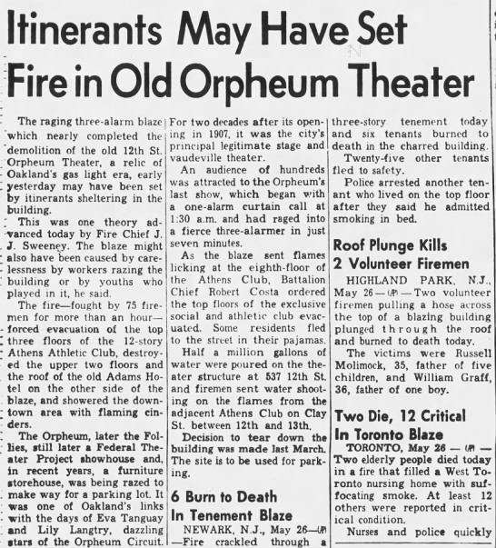 Fire in old Orpheum Theatre building -