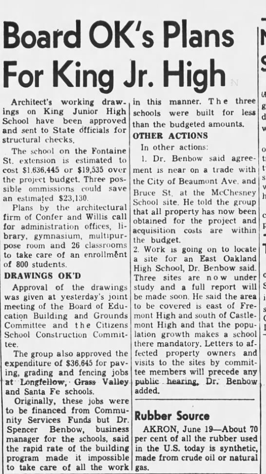 King Junior High Plans Ok'd - Jun 19,1958 -
