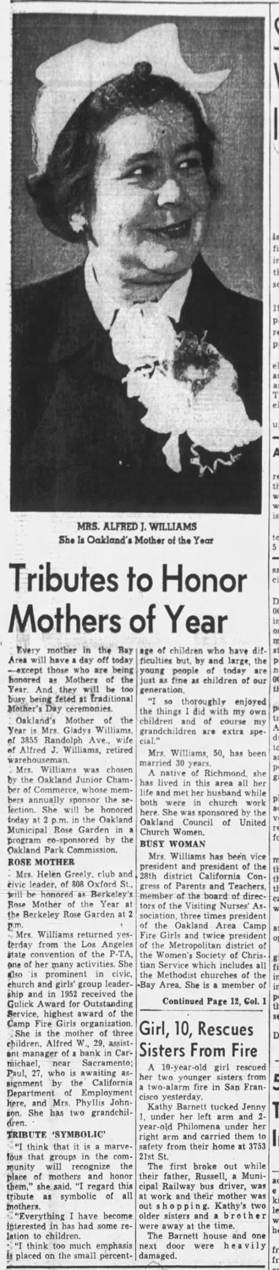 Mrs. Alfred Williams, Mother of the Year Dr. Orley See added to Pioneer Walk p1 -