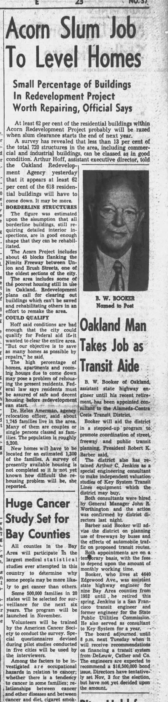 Acorn Slum Job To Level Homes - Oakland Tribune Aug 6, 1959 -