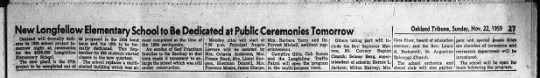 Longfellow to be dedicated - Nov 22, 1959 -