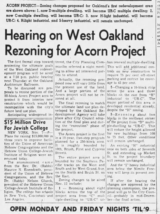 Rezoning for Acorn Project - Oakland Tribune Nov 9, 1959 -