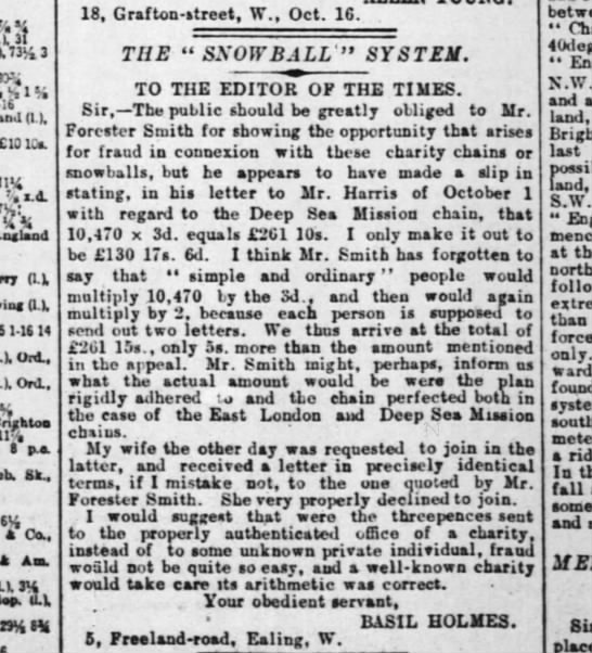 Snowball System in 1889 -