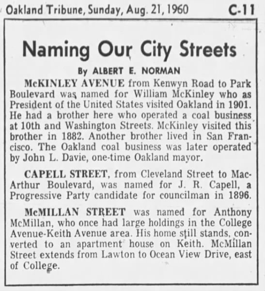 naming our streets -- McMillan, Capell, McKinley -