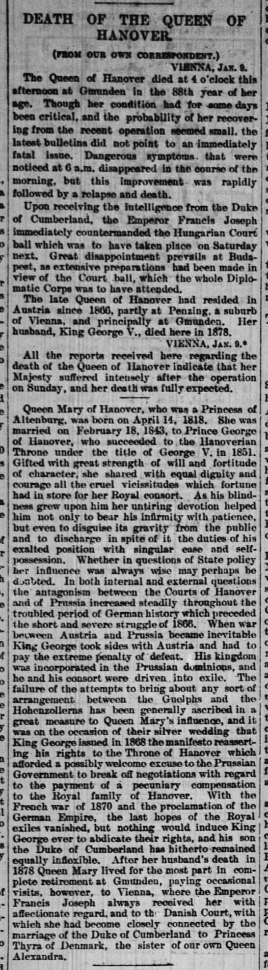 Death of the Queen of Hanover -