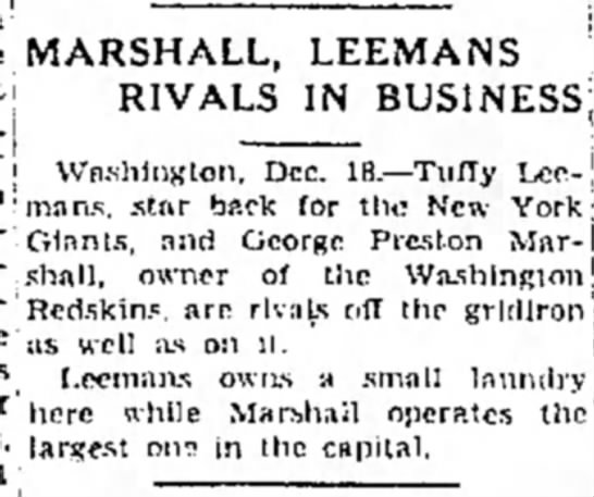 Marshall, Leemans Rivals In Business -