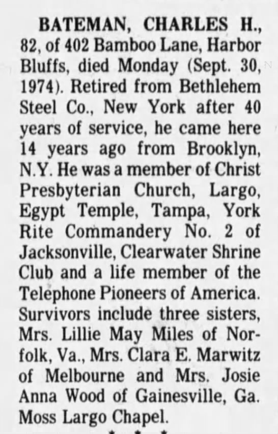Obituary of Charles H Bateman, Brother of Clara E Marwitz -