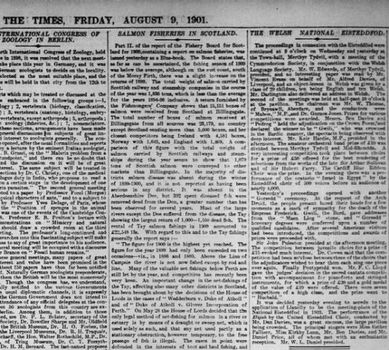 Gurnos Jones, Times, August 9, 1901 -