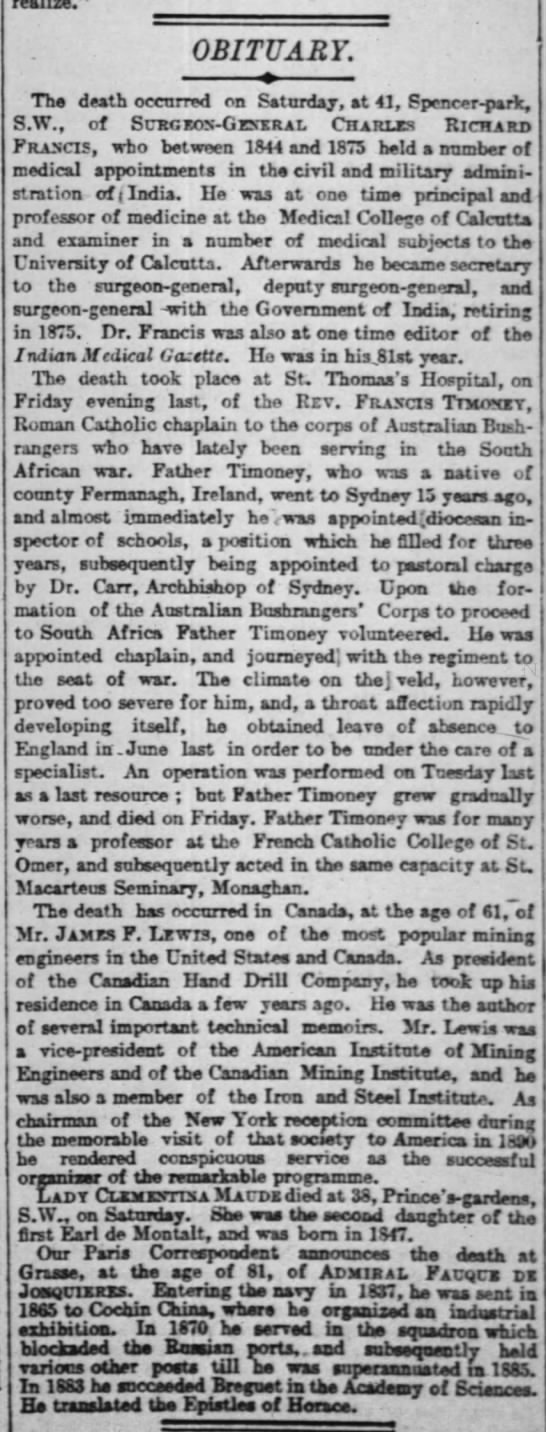 The Times * London Greater london England 12 Aug 1901 page 5 column 6 -