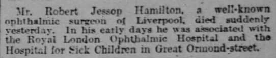 Death announcement for Robert Jessop Hamilton 17 Sep 1918 in The Times -