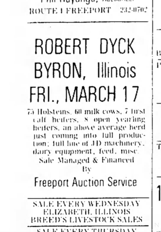 Dyck, Robert - Auction Article -