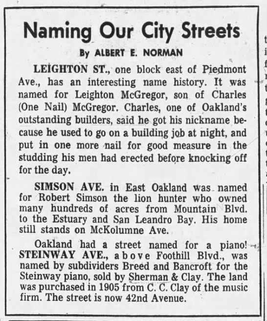Naming Our City Streets - Leighton, Simson, Steinway -