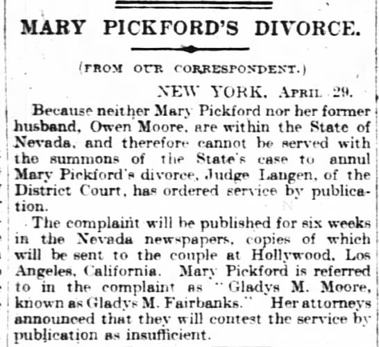 Mary Pickford's 1920 divorce.
