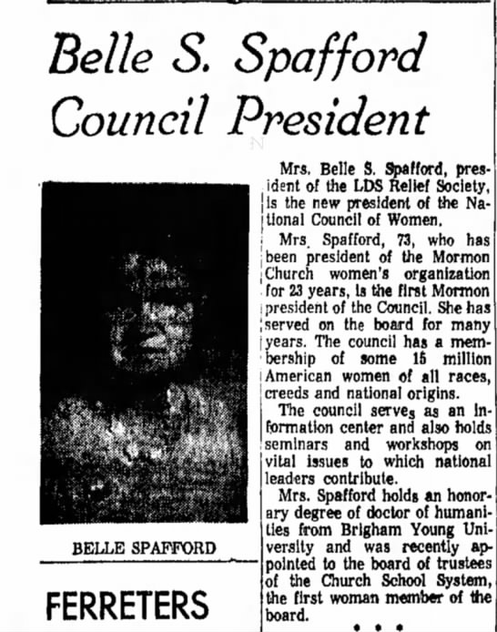 Belle S. Spafford Council President -