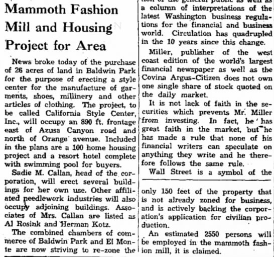Mammouth Fashion Mill and Housing Project for Area -