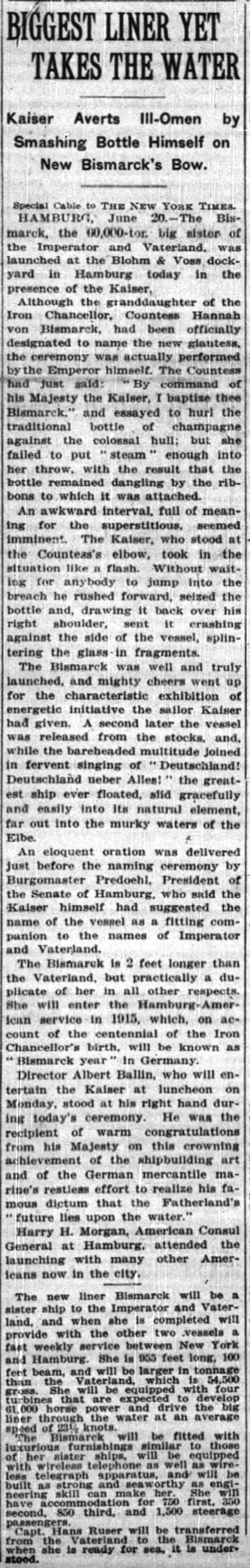 The launching of the Bismarck got awk. -