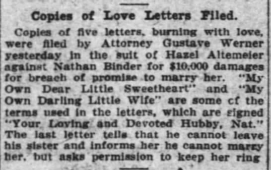 Hazel Altemeier vs. Nathan Binder Cincinnati Enquirer 4 Nov 1911 -