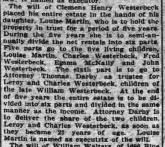 Clemens Henry Westerbeck's will - Leroy &  Charles Westerbeck heirs - - The will of Clemens Henry' Wests roeck Placed...