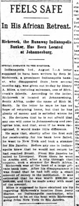 Seth M Richcreek, 8 Aug 1908 -