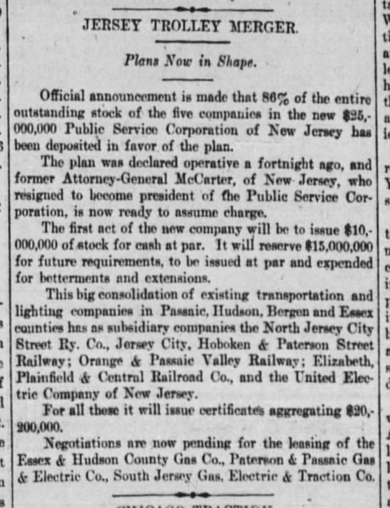 Jersey Trolley Merger -