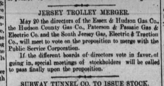 Jersey Trolley Merger -