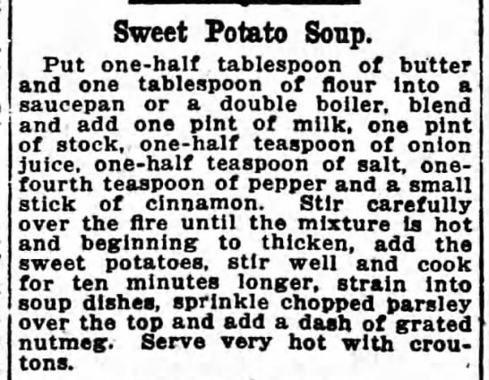 Recipe: Sweet potato soup, 1921 -