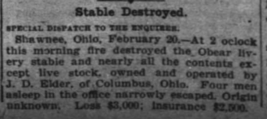 Obear Livery Stable destoryed by fire 21 Feb 1910 -