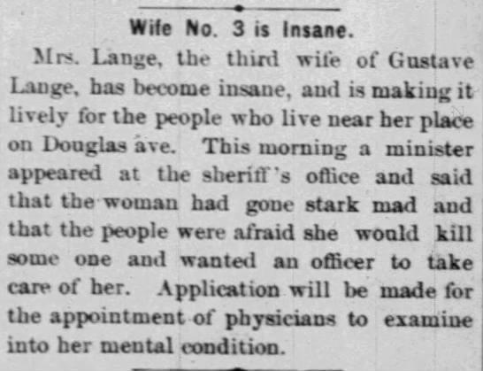 Gustave Lange Third Wife -