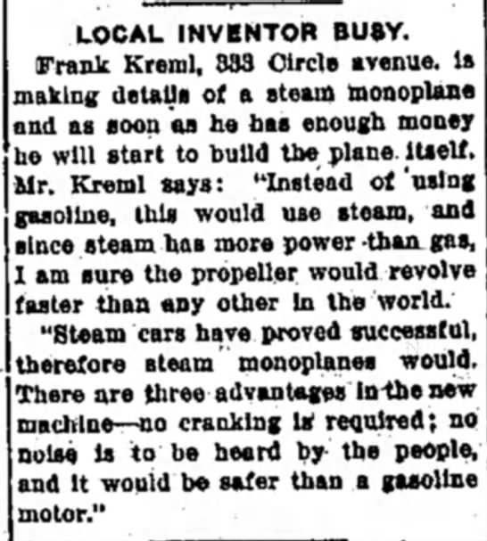 Frank KREML article about invention -