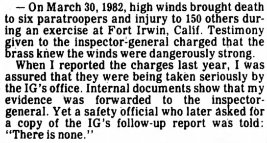 - - On March 30,1982, high winds brought death to...