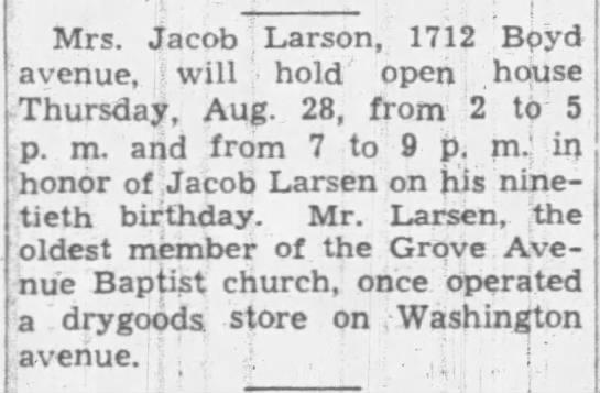 Open House Announcement Jacob Larsens 90th Birthday
