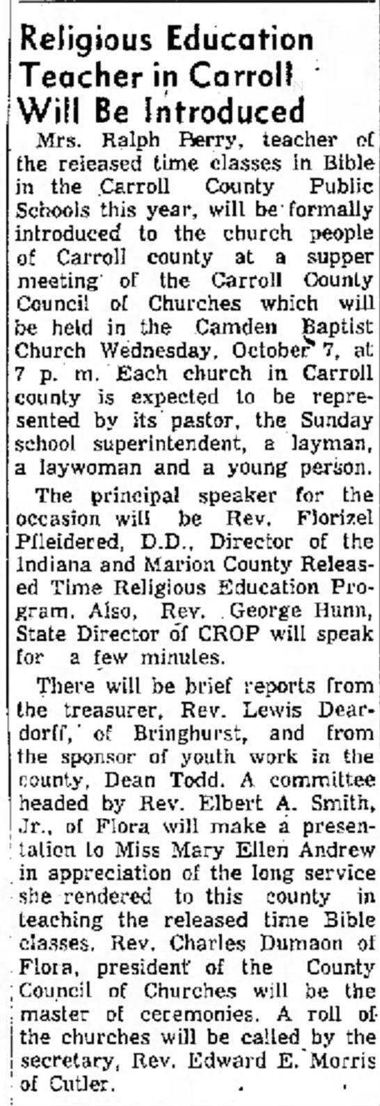 Elbert, church item Indiana 2 Oct 1956 -