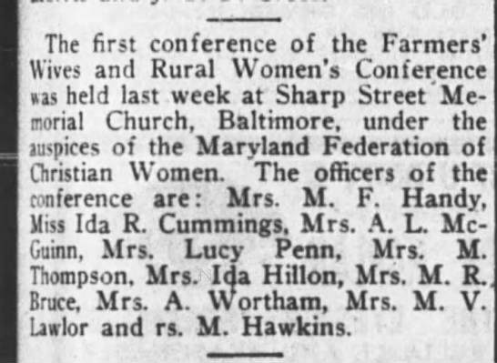 Farmers' Wives and Rural Women's Conference, Baltimore 1917. -