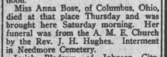 JH Hughes funeral at Needmore cemetery New York Age 12231915p5 -