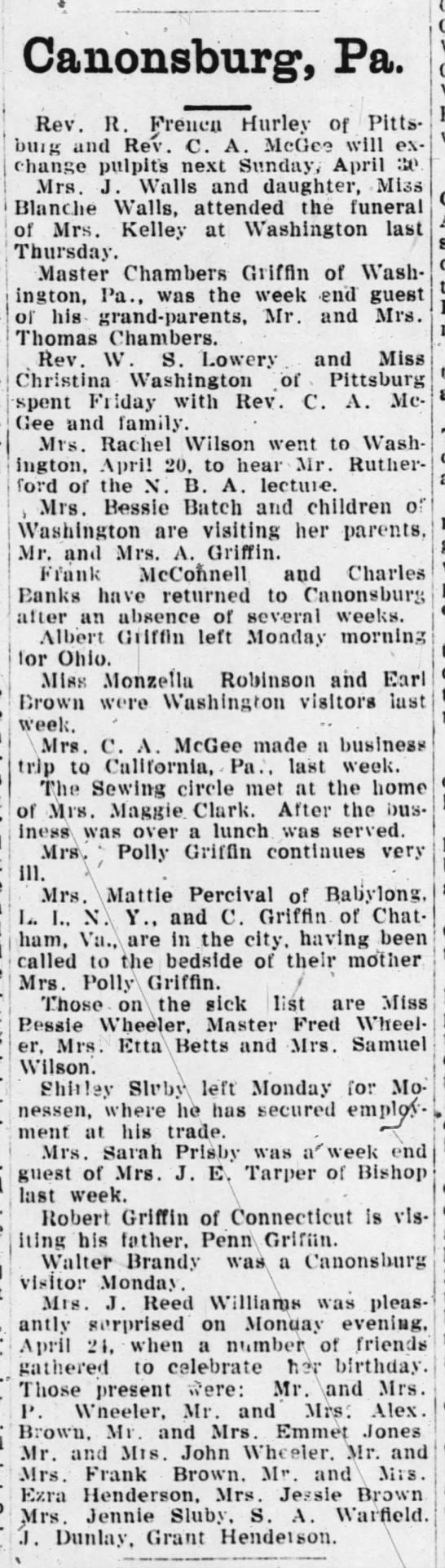 Griffins social 29 Apr 1911 TPC -