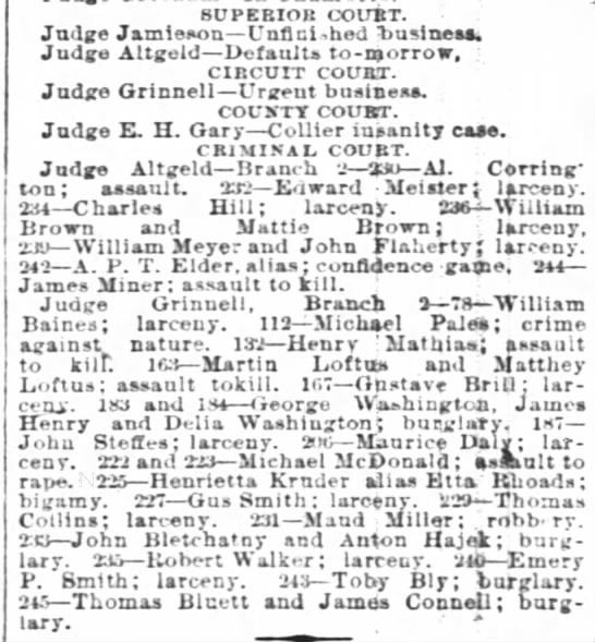 3 Sept. 1890 Thomas Bluett in Court - SUPERIOR COUBT. Judge Jamieson Unfinished...