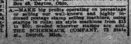 Schermack Company Ad 25Oct1914 Cincinnati Enquirer OH -