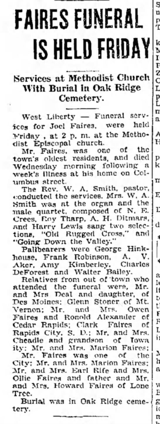 Joel Faires funeral held Friday - 24 jan 1931, Muscatine News-Tribune - FAIRESFUNERAL IS HELD FRIDAY Services at...