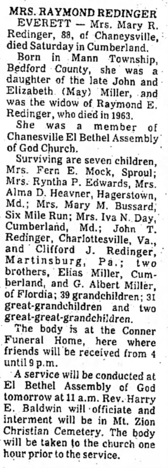 Obituary of Mary R. Miller Redinger - MRS. RAYMOND REDINGER EVERETT — Mrs. Mary R....