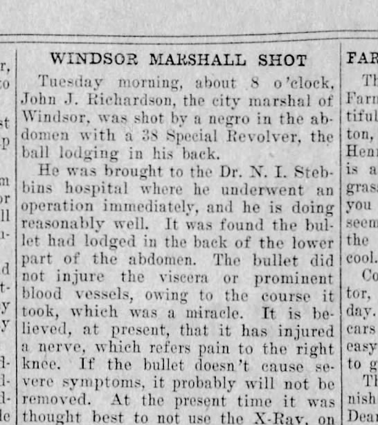 Negro shoots Windsoe Marshal -