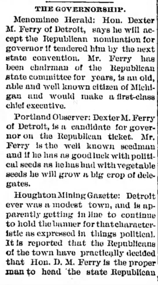 Dexter Ferry runs for Governor part 1 1899 -