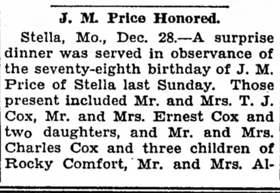 - J. M. Price Honored. Stella, Mo., Dec. 28.—A...