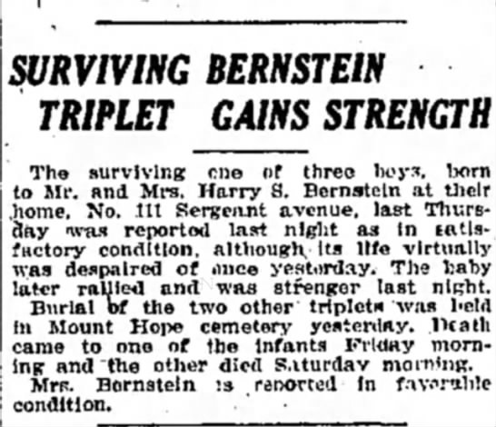 Bernstein, surviving triplet gains strength -