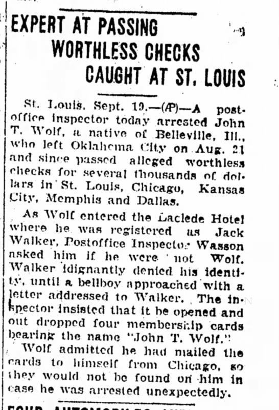 John T Wolf - Freeport Journal-Standard (Freeport, Illinois) 19 Sep 1928 -