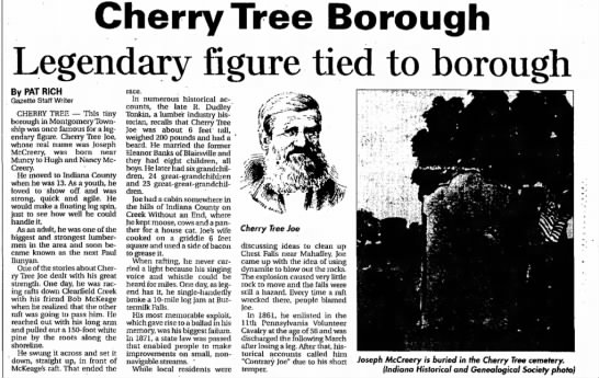 Cheery Tree Joe and Cherry Tree Article 10 Jun 2003 Indiana Gazette - Cherry Tree Borough Legendary figure tied to...