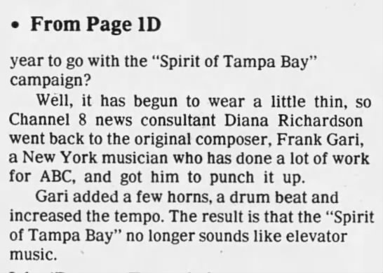 Spirit of Tampa Bay — Frank Gari -