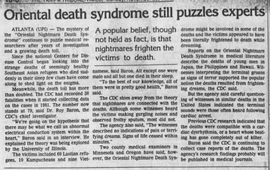 Oriental Death Syndrome Still Puzzles Experts -
