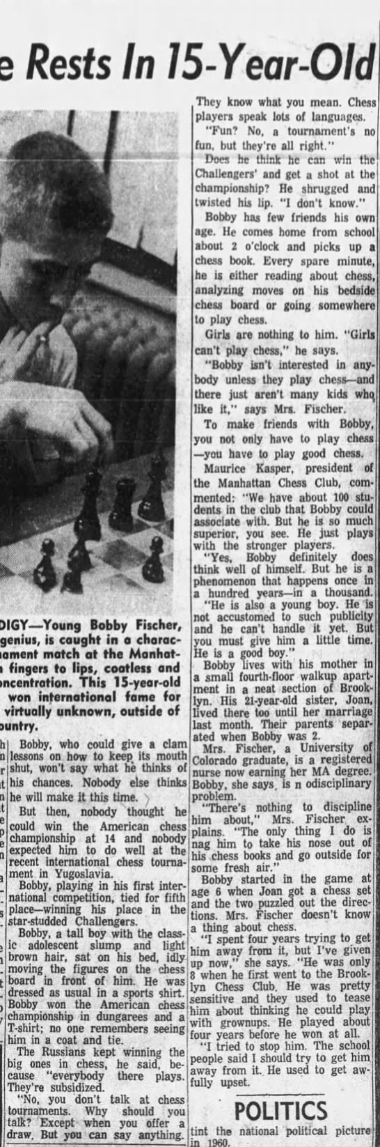 Nation's Chess Hope Rests In 15-Year-Old (Column 2) -