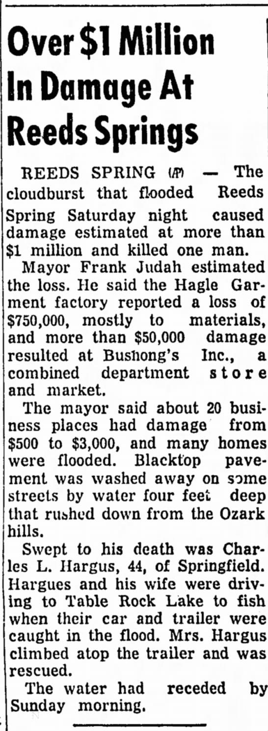 1965, 6-14 Hagle Garment Factory Flooding Spfd fisherman drowns -